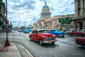 people, Town, City, Sculpture, Statue, Havana, Cuba, Capital, Street, Car, Crossroads, Old Car, Classic Car, Architecture, Building, Palm Trees, Path, Clouds, HDR, Bicycle, Theaters, Old Building, Dome, Lamp, Taxi