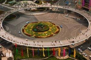 crowds, Architecture, Building, Shanghai, China, Street, Bridge, Circle, Traffic, Car, Roundabouts, Flag, Road, Urban