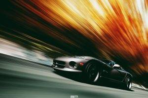 VIPER, Dodge Viper, Car, Motion Blur, Black Cars