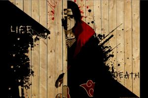 Naruto Shippuuden, Anime, Uchiha Itachi, Paint Splatter, Wood, Akatsuki