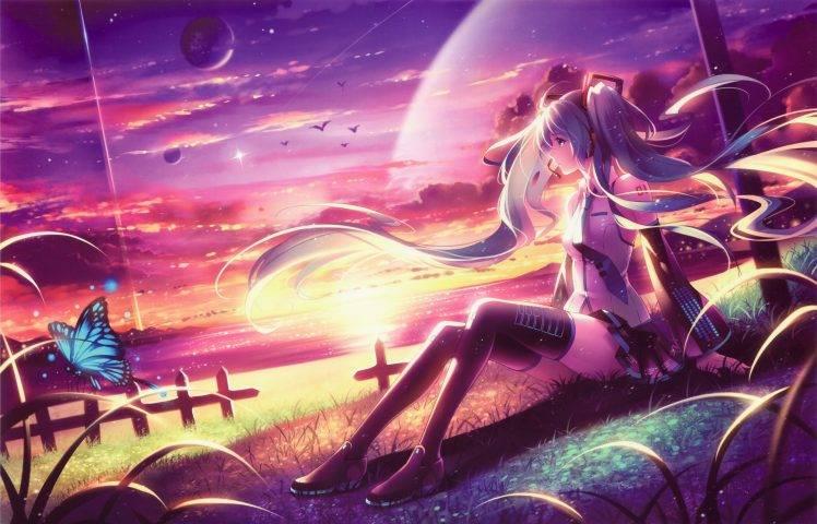 Vocaloid, Hatsune Miku, Long Hair, Twintails, Headphones, Neckties, Thigh highs, Birds, Butterfly, Skirt, Clouds, Planet, Grass, Anime, Anime Girls HD Wallpaper Desktop Background