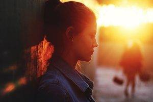 women, Alone, Sunset, Against Wall