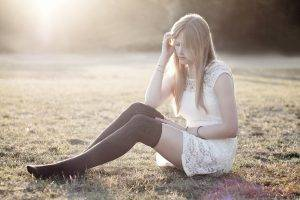 women, Stockings, Blonde