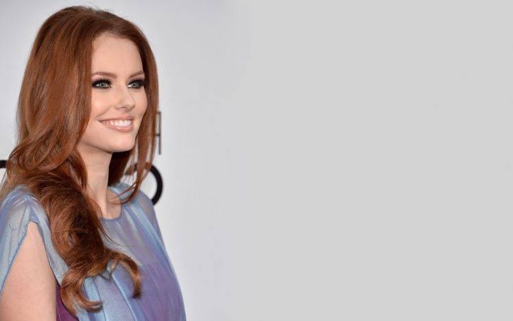 Alyssa Campanella, Smiling, Redhead, Simple Background, Model HD Wallpaper Desktop Background