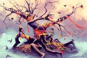 aquasixio ribbon children artwork trees roots birds