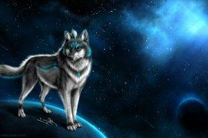 wolf fantasy art animals space art
