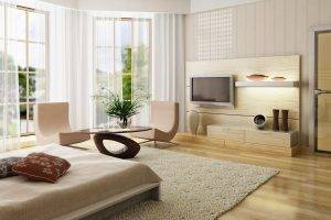 interior design wooden surface bedroom chair bed cushions window carpets
