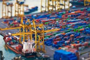 tilt shift dock cargo container ship