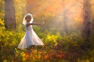 children little girl dandelion depth of field blonde white dress jake olson