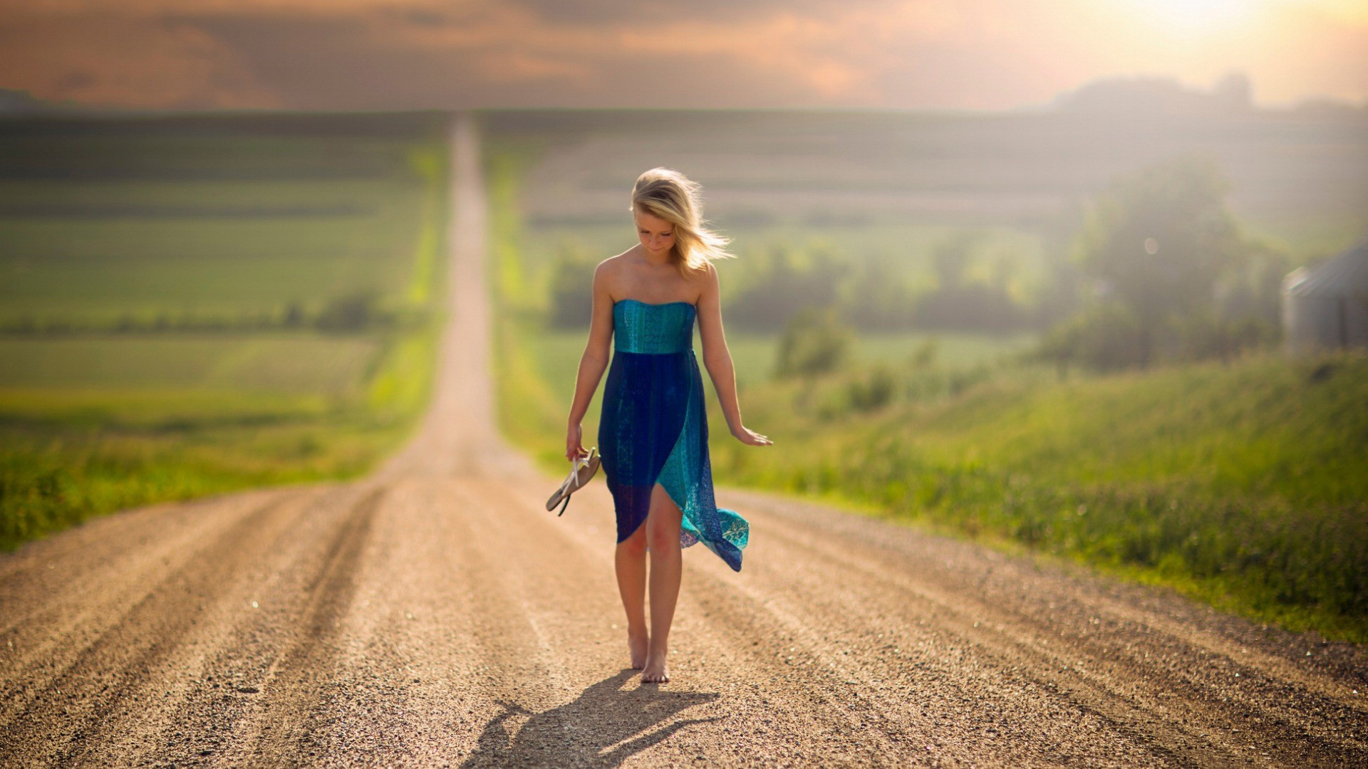 Women Blonde Road Nature Landscape Barefoot Nebraska Jake