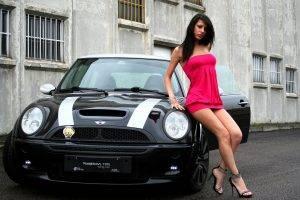 women model mini cooper high heels red dress legs