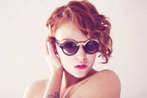 model women redhead tattoo sunglasses piercing