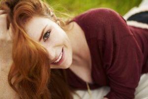women redhead black panties face green eyes freckles depth of field