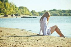 women nature white tops legs alone