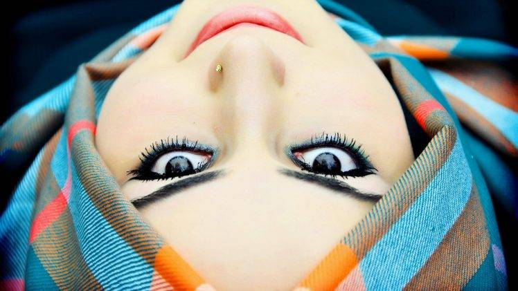 women model smiling face black eyes piercing upside down hijabs HD Wallpaper Desktop Background