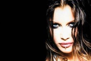 face pierced lip blue eyes brunette women closeup eyes