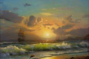 ship, Painting, Waves, Sun, Clouds, Beach