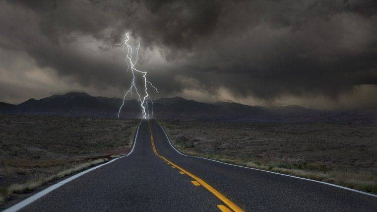 clouds, Desert, Hill, Road, Lightning, Valley HD Wallpaper Desktop Background