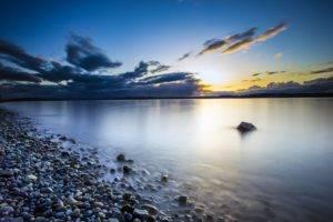 sunset, Pebbles, Clouds, Rock, Seattle, Beach, Washington state, Water