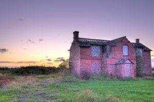building, Grass, Abandoned