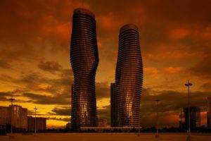 architecture, Cityscape, City, Skyscraper, Clouds, Modern, Ontario, Canada, Evening, Sunset, Building, Town square, Street light, Reflection, Window, Urban, Mississauga