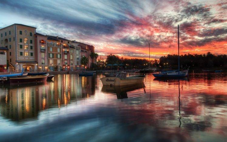 Portofino, Italy, Boat, Sea, Water, Reflection, Sunset, Clouds, Building, City HD Wallpaper Desktop Background