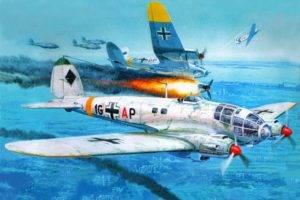 aircraft, Heinkel He 111, World War II, Artwork