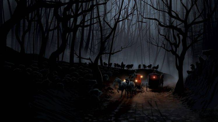 forest, Wolf, Trees, Artwork HD Wallpaper Desktop Background