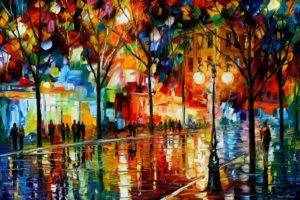 Leonid Afremov, Painting, Trees, Street light, Street, Reflection, Colorful, Artwork