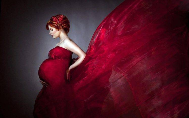 pregnant, Artwork, Butterfly, Closed eyes, Profile, Bare shoulders, Dress, Pale HD Wallpaper Desktop Background