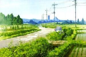 artwork, Road, Power lines, Plants, Utility pole