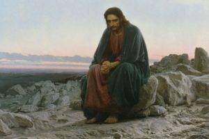 Jesus Christ, Religion, Painting, Artwork, Sitting, Men, Rock, Classic art, Desert