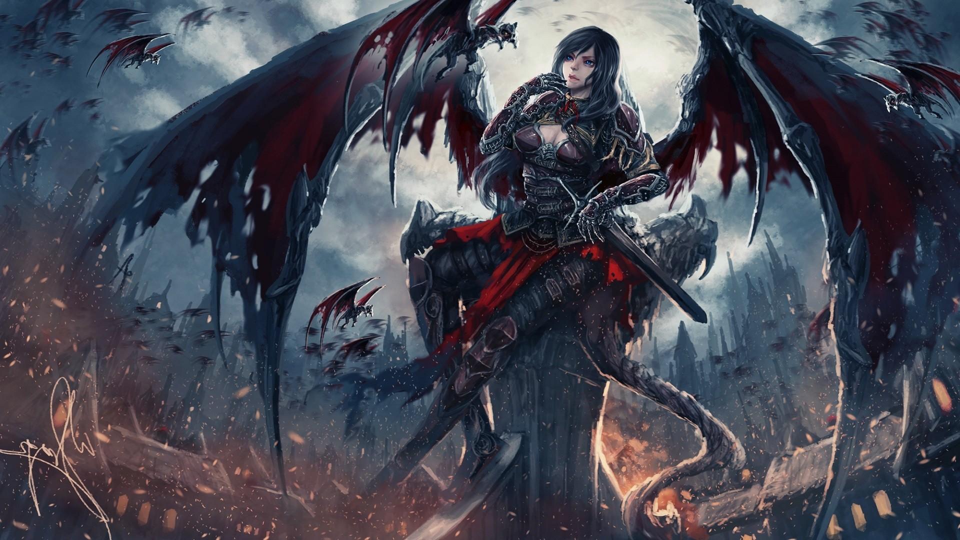artwork, Wings, Destruction, DeviantArt, Long hair, Armor, Castle, Creature Wallpaper