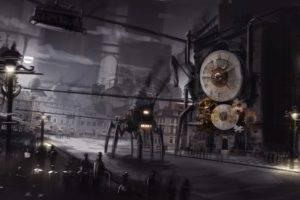 artwork, Steampunk, City