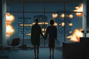 holding hands, Artwork, Movies, Fight Club, Explosion