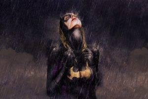 Batgirl, Big boobs, Closed eyes, Fan art, Drawing, Artwork, Rain
