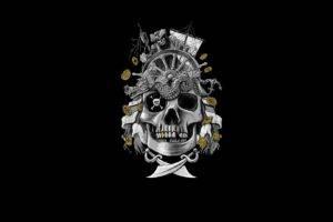 pirates, Artwork, Simple background, Black background, Skull