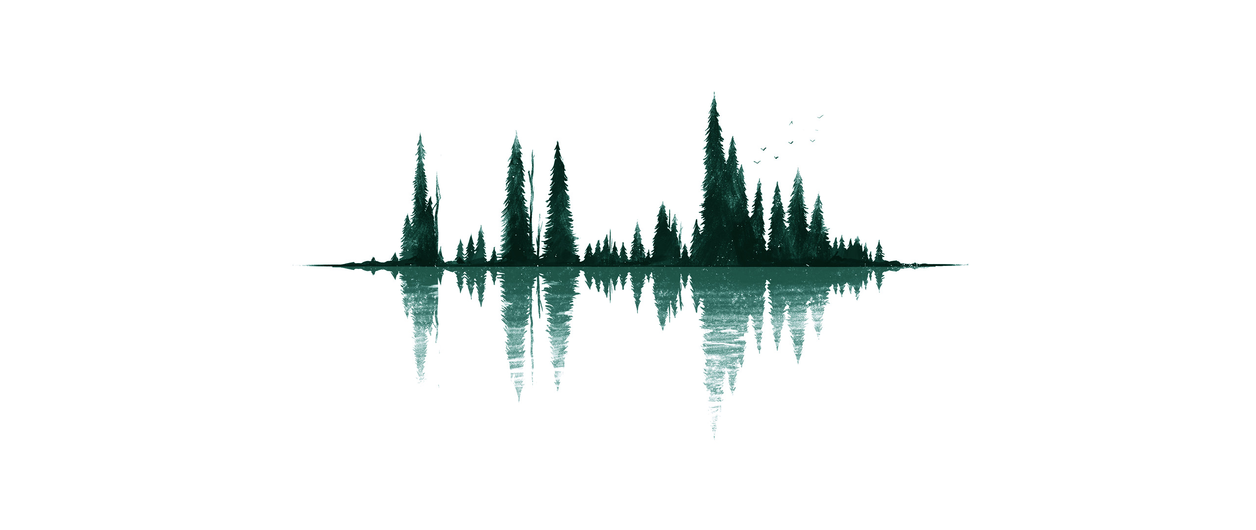 ultra wide, Minimalism, Artwork, Reflection, Trees, Simple ...