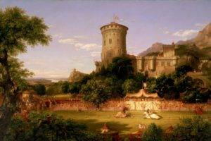 knight, Crowds, Thomas Cole, Architecture, Building, Painting, Artwork, Castle, Horse, Trees, Nature, Flag, Tower, Tent, Mountains