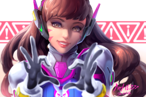 long hair, Brunette, Overwatch, D.Va (Overwatch), Headphones, Brown eyes, Bodysuit
