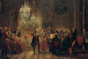 painting, Artwork, Prussia, Concerts, King, Oil painting, Classic art, Chandeliers, Musicians, Flute, Piano, Candles
