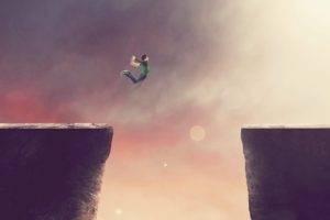 cliff, Jumping, Artwork, Men