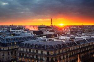architecture, Old building, City, Capital, Europe, Sky, Clouds, Paris, France, Eiffel Tower, Rooftops, Church, Cathedral, Lights, Smoke, Cityscape, Evening, Sunrise, Window