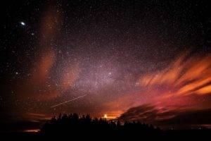 stars, Silhouette, Trees, Night sky