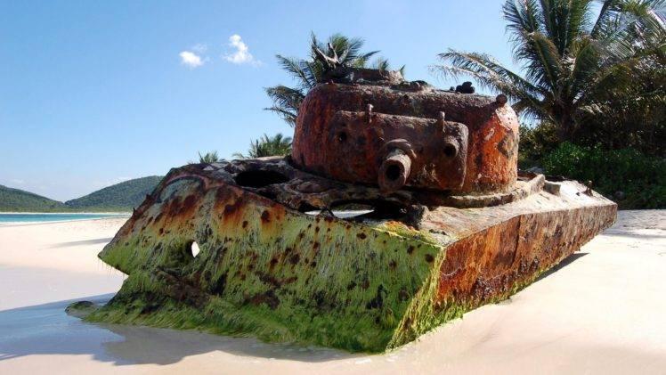 tank, Beach, Sand, Rust, M4 Sherman HD Wallpaper Desktop Background