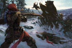 archers, Fantasy art, Bears, Winter