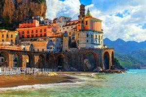 architecture, Building, House, Italy, Coast, Old building, Beach, Sand, Sea, Mountains, Arch, Bridge, Rock, Clouds, Tower
