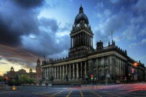 architecture, Building, Old building, Leeds, England, UK, City hall, Tower, Clock tower, Town square, Clouds, Long exposure, Lights, Light trails, Column, Stairs