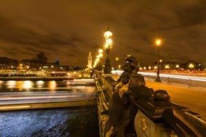 city, Bridge, Lights, Paris, Sky, Night, River, France, Paris, France