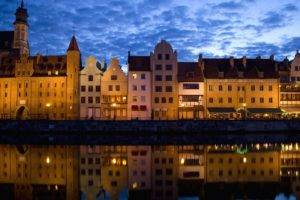 city, Building, Architecture, Reflection, River, Water, Clouds, Night, Lights, Gdańsk, Poland, Symmetry